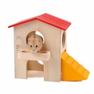 KunLS Maison Rongeur Maison/Maisonnette/Villa Rongeur en Bois Hamster Jouet Jouet pour Rat Hamster Jouets Cage Gerbille Nain Hamster Cage Maison Lapin Hamster Accessoire