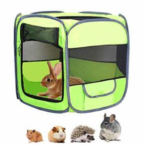 Parc pour animaux de petite taille – Tente portable avec housse – Respirante et transparente – Pour cochon d'Inde, hamster, rat, gerbilles, chinchillas et hérissons
