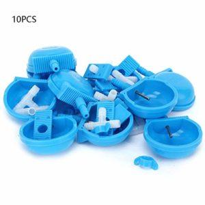 Abreuvoir à lapin automatique, 10 ensembles d'eau potable pour lapin bol d'alimentation Cage accessoires pour fournitures, se connecter à un tuyau de 7 à 10 mm, pour animal rongeur 2,6 x 0,8 po