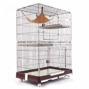 Cages pour chat, 3 étages grande cage pour rat, furet, petits animaux, rongeurs, cage de transport avec fil en acier au carbone avec échelles, marron, 82 × 57 × 124 cm