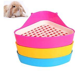 DesignerBox Bac à Litière pour Animal Domestique, Animal de Petite Taille Triangle Toilettes Pot d'Entraînement Litière d'Angle pour Hamster Chinchilla Cochon d'Inde Lapin Furet (Couleur Aléatoire)