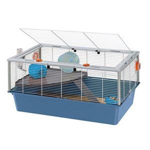 Ferplast Cage pour Hamsters, Souris, Petits Rongeurs Criceti 15 Cage pour Hamsters à Deux Étages, Accessoires Inclus, Métal Vernis Blanc avec Cadre et Fond en Plastique, 78 X 48 X H 39 cm