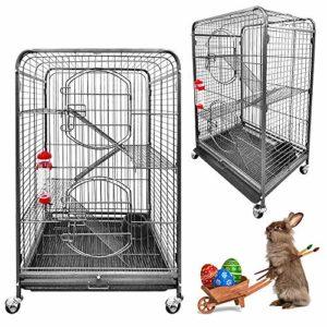 Froadp Cage à Oiseaux en métal avec roulettes pour rongeurs avec Portes à étages