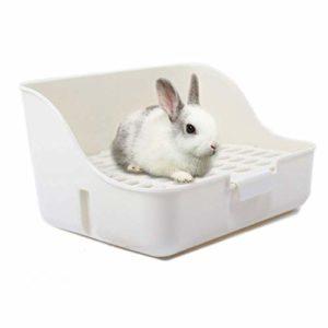 Md trade Boîte de Pot d'entraînement Parure de Lit Litière d'angle Carrée pour Animal Domestique Poêle pour Petit Animal/Cochon d'Inde/Lapin/Falesaur/furets (Blanc)