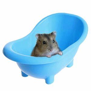 NXL Hamster en Plastique Salle De Bains Petits Animaux Litière Rat Souris Bain Salle De Sable Sauna Toilette Pet Little Box,Bleu