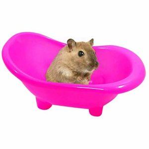 NXL Hamster en Plastique Salle De Bains Petits Animaux Litière Rat Souris Bain Salle De Sable Sauna Toilette Pet Little Box,Rose