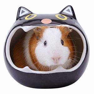 Seekee Maison pour hamster en céramique Motif chat en argile naturelle Système de maintien au frais, sec et confortable – Choix de cadeau pour hamster, rat, petits animaux