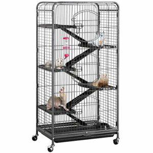 Yaheetech Cage Tower Equipée pour Rongeurs/Cochon d'Inde/Furets/écureuils/Chinchillas sur roulettes 6 Niveaux 64 x 44 x 131 cm Noir