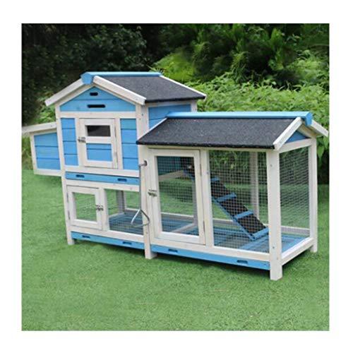 YCDJCS Cages et poulaillers Chicken Coops extérieure de en Bois à Deux Couches Lapin étanche Cage Garden Chicken Farm Pet Supplies (Color : Blue, Size : 120 * 43 * 86.5 cm)