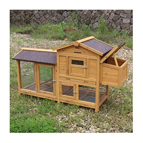 YCDJCS Cages et poulaillers Chicken Coops extérieure de en Bois à Deux Couches Lapin étanche Cage Garden Chicken Farm Pet Supplies (Color : Brown, Size : 120 * 43 * 86.5 cm)