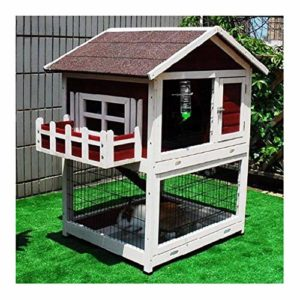 YCDJCS Cages et poulaillers Poulet Coops Grand Lapin Animaux en Bois Hutch et Run clapiers Cage Guinée Pig Ferret Maison Accueil Double Decker Pet Supplies (Color : Red, Size : 77 * 96.5 * 116.5 cm)