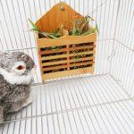 YFairy Mangeoire pour lapin – Support pour gazon suspendu pour lapin cochon d'Inde – Réduit les déchets de foin et rend la cage propre et bien rangée.
