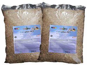 Canaplus Pet 24 litres – Litière pour Lapins Hamsters rongeurs en Chanvre, 100% Biologique, Haute capacité d'absorption, sans poussière nocive, idéal pour Les Animaux allergiques. Produit breveté.