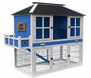 Dehner 4427746 Happy Home Palazzo Cage à rongeurs avec enclos Env. 145 x 72 x 121 cm, Bois de Sapin, Bleu/Blanc/Noir, 28200 g