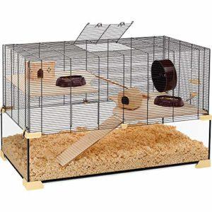 Ferplast Cage Hamsters, Souris et Rongeurs Karat 100 Habitat pour Petits Rongeurs, Structure à Deux Étages avec Accessoires,Verre et Métal Vernis Noir, 98,5X 50,5 X H 61,5 cm