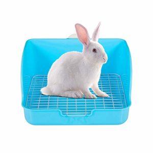 Generic Brands Grande boîte à litière pour lapin en forme de cage à lapin facile à nettoyer pour toilettes d'angle pour lapin pour cochon d'Inde, furets et autres petits animaux Rose