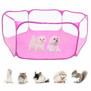 Kikier Pet clôture, hexagonal respirant animal de compagnie tente lapin hamster portable de sport clôture pliable enfant tente Taille unique rose