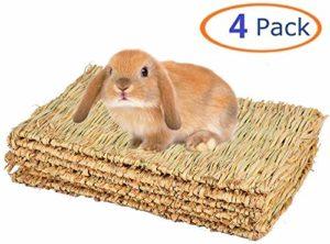 Tapis d'herbe pour lapin à mâcher – Tapis de lit tissé pour cochon d'Inde, chinchilla écureuil, hamster, chat, chien et petit animal – 4 pièces