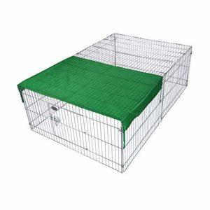 WilTec Parc Enclos pour Petits Animaux domestiques 122 x 95 x 58 cm Clôture avec Protection Solaire Cage