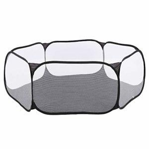 Zerodis Petit Parc Portable pour Animaux de Compagnie, Lapin Chiot Chinchillas hérissons Cage Tente chenil extérieur de clôture d'exercice(Noir)