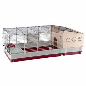 Ferplast Krolik 140 plus Cage Clapier, Maisonnette en Bois Séparable, Nid en Bois et Accessoires Inclus pour Lapins et Cochons d'inde, Maisonnette pour Petits Animaux, 142 x 60 x 50 cm