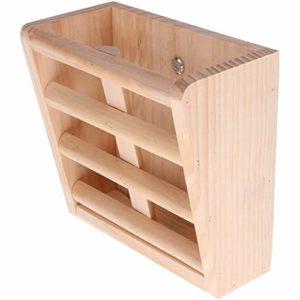 HITECHLIFE – 1 étagère à foin en bois massif naturel – Accessoires pour chinchillas, cochons d'Inde, tournesol, rats, lapins, fermes 16 x 8 x 15 cm