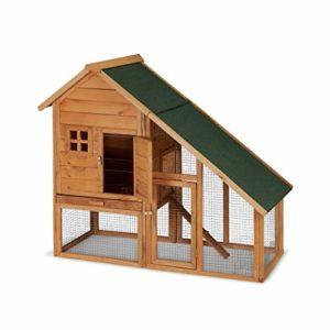 Relaxdays Clapier à Lapins, pour extérieur, enclos, Cage Petits Animaux, Lapins, cochons d'Inde 120x140x68,5cm, Nature