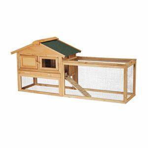 Relaxdays Clapier à Lapins, pour extérieur, enclos, Cage Petits Animaux, Lapins, cochons d'Inde 71x154x51,5cm, Nature