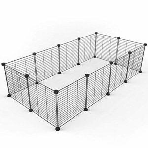 Tespo Enclos, cage pour petit animal Intérieur Portable en fil métal cour Clôture pour petits animaux, cochons d'Inde, lapins Niche Caisse Clôture Tente, Noir 12Panneaux