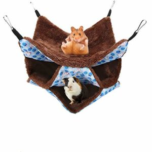 YOUTHINK Hamac pour Petits Animaux, Hamac pour Animaux de Compagnie, Doux et Chaud, Lit Suspendu à Couchette pour Hamster, Furet, Perroquet, Cochon d'Inde(Nid à 3 Couches)