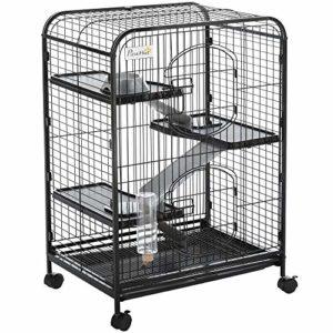 Cage pour Petits Animaux Roulante 3 Rampes 3 Plates-Formes Plat et Bouteille d'eau Bac Inférieur Amovible Acier PP Noire