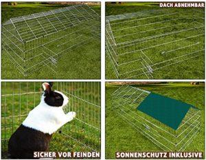 Parc de jeu pour lapins et petits animaux -Pare-soleil vert inclus -180x75x75cm