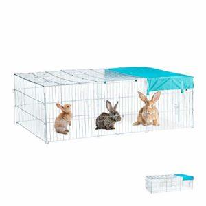Relaxdays Enclos pour lapins avec toit, voile solaire, gros enclos pour l'extérieur, différentes Couleurs, galvanisé