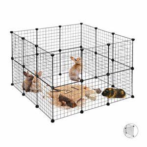 Relaxdays Enclos pour Petits Animaux Domestiques DIY Parc Extensible Cage Grille Clapier Grillage Pack de 24, Noir