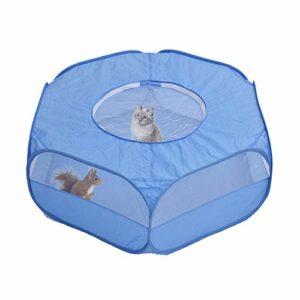 Tente de cage pour petits animaux avec couvercle supérieur, clôture de cour portable pour intérieur et extérieur, pour cochon d'Inde, lapin, chaton ou hamster, chinchillas, hérissons, lapin, bleu